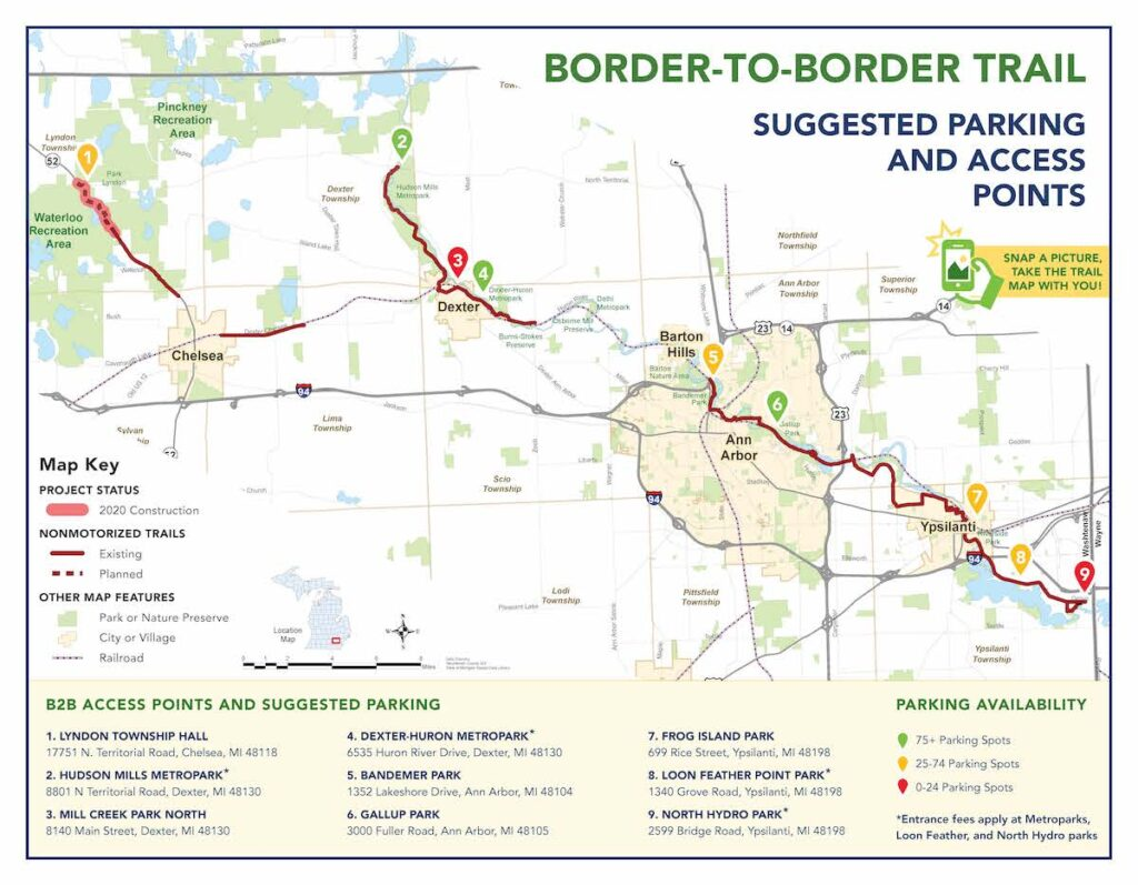 Border to Border Trail Access Map
